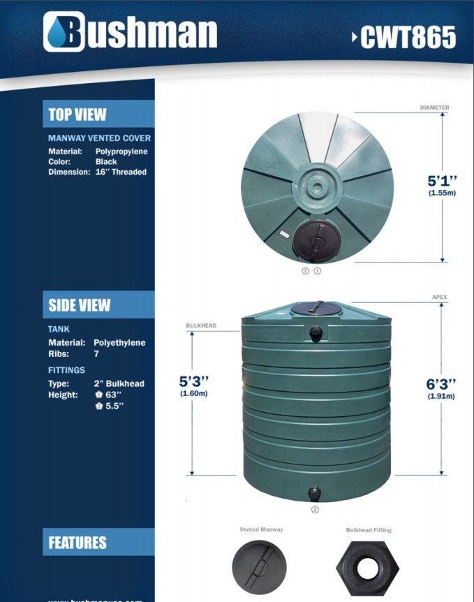 Bushman Water Storage Tank - 865 Gallon