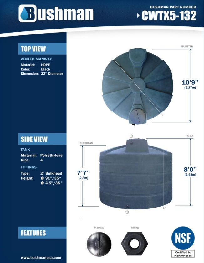 Bushman Water Storage Tank - 5050 Gallon