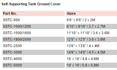 Fol-Da-Tank Self Supporting Tank Ground Cover Sizes