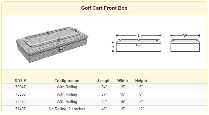 RDS Golf Cart Front Box Sizes