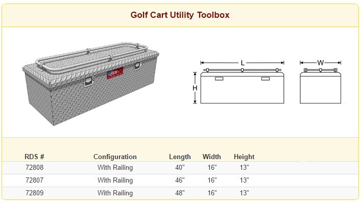 RDS Golf Cart Utility Toolbox Sizes