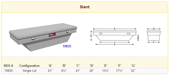 RDS Slant Crossover Toolbox Sizes