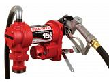 Fill-Rite FR1210H 12V Fuel Transfer Pump (Manual Nozzle, Discharge Hose, Suction Pipe) - 15 GPM