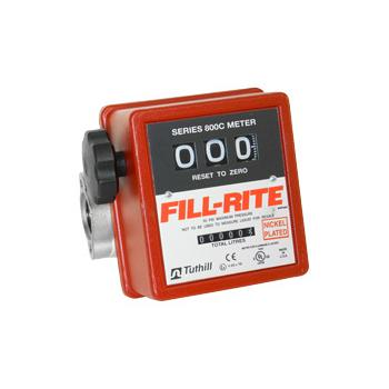 Fill-Rite 807CLN1 3-Wheel Mechanical, 1 in Liter Meter, 19-76 LPM Nickel Plated 1